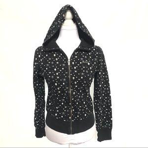 Hurley black skull hearts zip up hoodie sweater